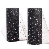 Tule lint 15 cm breed zwart met glitter rondjes