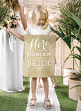 Jute banner here comes the bride_