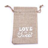 Jute zakjes love is sweet 9.5 x 13.5 cm