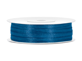 10 meter Satijn lint 3 mm donker blauw