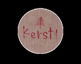 Ronde kraft stickers kerst met kerstboompje rood 10 stuks