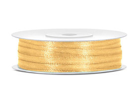 50 meter satijn lint 3 mm goud