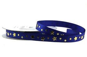 Satijn lint blauw met gouden sterretjes 1 cm breed
