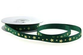 Satijn lint groen met gouden sterretjes 1 cm breed