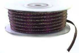 Satijn lint 3 mm paars met zilver lurex randje