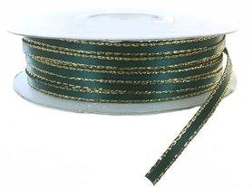 Satijn lint 3 mm donker groen met goud lurex randje