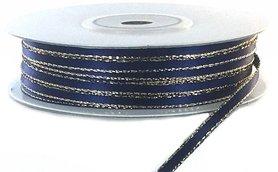 Satijn lint 3 mm donker blauw met zilver lurex randje