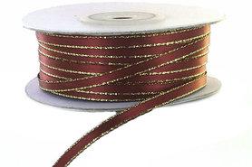 Satijn lint 3 mm bordeaux rood met goud lurex randje