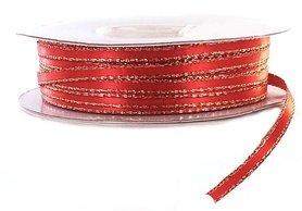 Satijn lint 3 mm rood met goud lurex randje