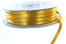 Satijn lint 3 mm geel met goud lurex randje