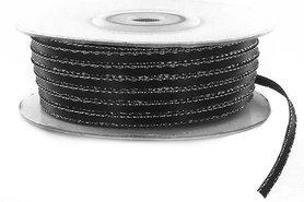 Satijn lint 3 mm zwart met zilver lurex randje
