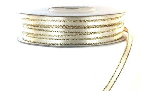 Satijn lint 3 mm ivoor met goud lurex randje
