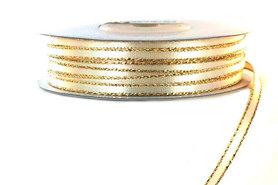 Satijn lint 3 mm donker ivoor met goud lurex randje