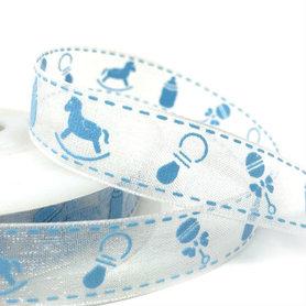 Organza lint 15 mm breed wit met blauwe babyspulletjes