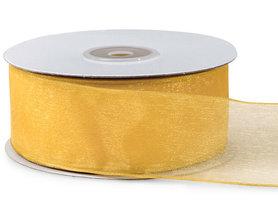 Organza lint met draad 25 mm breed geel