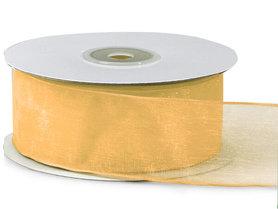 Organza lint met ijzerdraad 25 mm breed goud