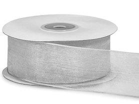 Organza lint met ijzerdraad 40 mm breed zilver