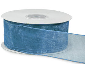 Organza lint met ijzerdraad 40 mm breed blauw