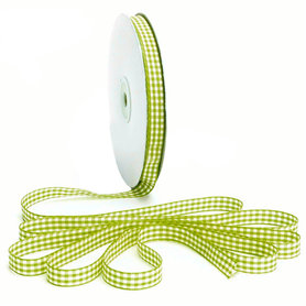 Geruit lint lime groen 1 cm breed 25 meter rol
