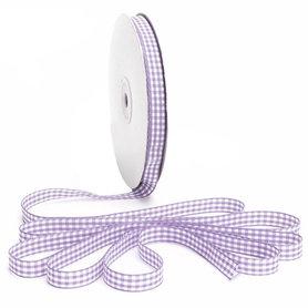 Geruit lint lavendel 1 cm breed 25 meter rol