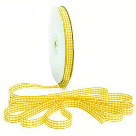Geruit lint geel 1 cm breed 25 meter rol