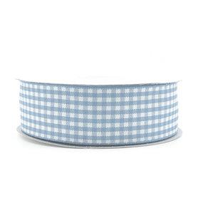 Geruit lint licht blauw 2.5 cm breed 25 meter rol