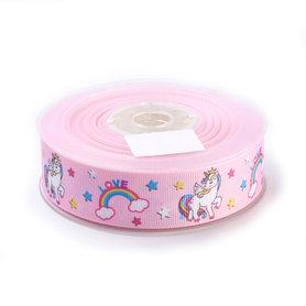 Grosgrain lint 25 mm breed unicorn roze 5 meter