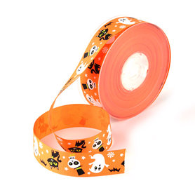Grosgrain lint oranje halloween 25 mm breed