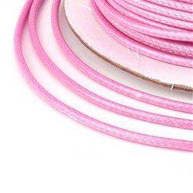 Polyester waxkoord 1 mm roze