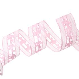 Organza satijn lint 4 cm Roze wandelwagentje