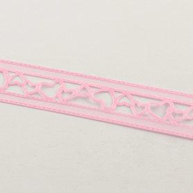 Organza satijn lint opengewerkt hartje roze 22 mm breed