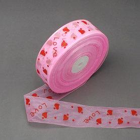Organza lint 25 mm breed roze met rode love print