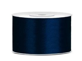 Satijn lint 38 mm donker blauw