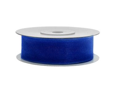 Blauw organza lint 2 cm breed 45 meter