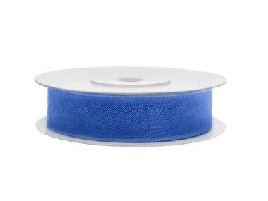 Organza lint 1 cm breed blauw 45 meter rol