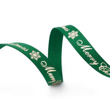 Kerstlint grosgrain groen merry christmas goud 9 mm breed 2.5 meter