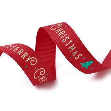 Kerstlint grosgrain rood merry christmas 15 mm breed 1 meter