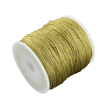 Gevlochten metallic rayon draad 1 mm goud