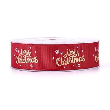 Kerstlint merry christmas en ijskristal rood 25 mm breed