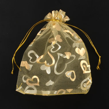 Organza zakje 7 x 9 cm goud hartje op goud zakje