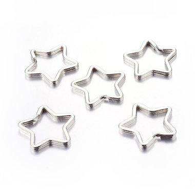 Sleutelhanger ringen ster 10 stuks