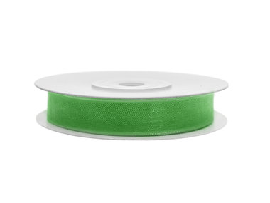 Organza lint 1 cm breed groen 45 meter rol