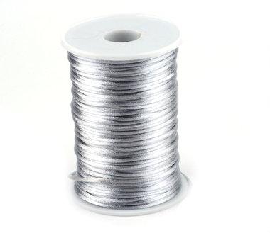 Satijnkoord 2 mm zilver 73 meter rol