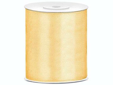 Satijn lint 100 mm goud