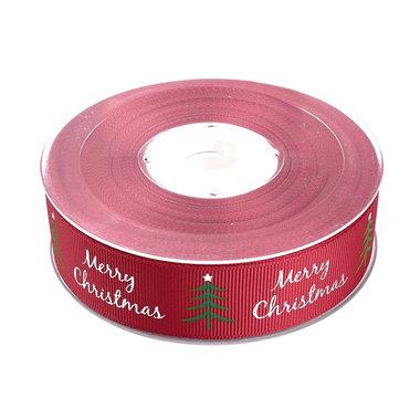 Kerstlint rood merry christmas kerstboom 25 mm breed