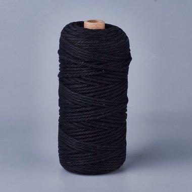 Macramé touw 3 mm zwart 100 meter spoel