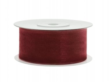 Organza lint 38 mm Bordeaux rood 25 meter rol