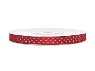 Satijn lint 6 mm rood met witte stippen