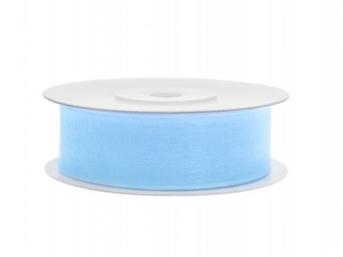 Licht blauw organza lint 2 cm breed 25 meter