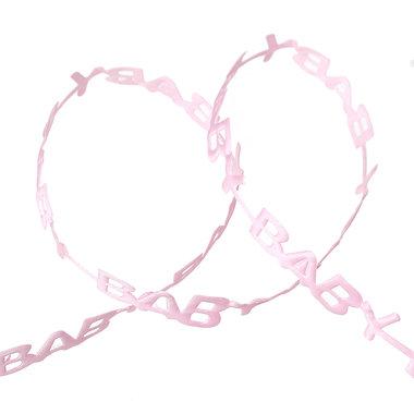 Satijn lint gestanst BABY Roze